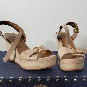 Clarks Tan Sandals with 4 inch heel